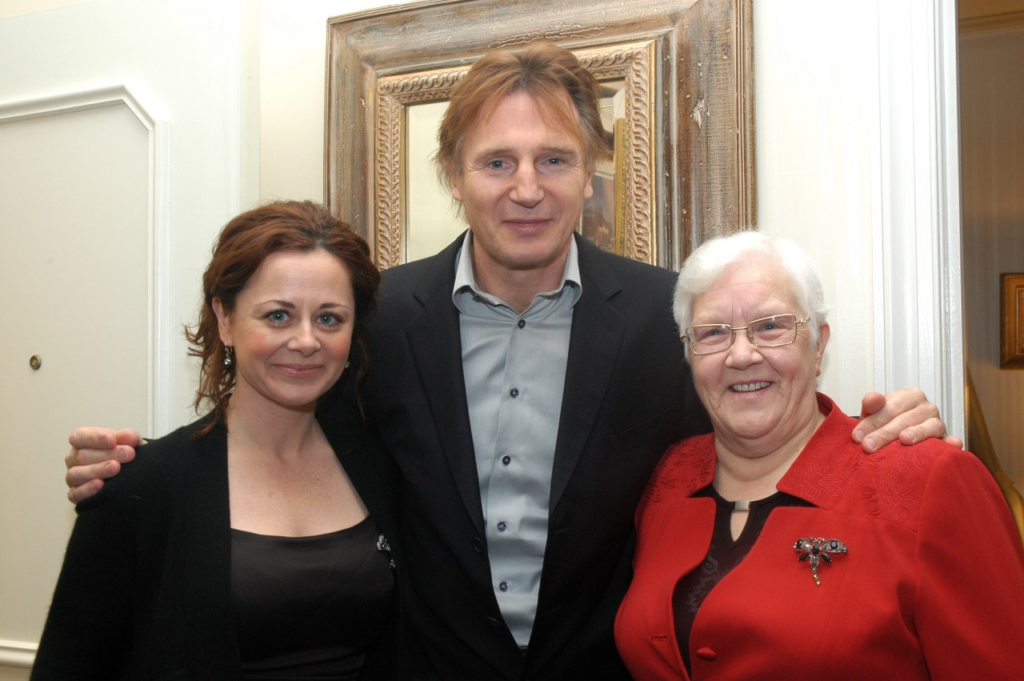 Geraldine Hughes, actresss and IEF supporter, Liam Neeson and Baroness May Blood, Campaign Chair of the Integrated Education Fund.