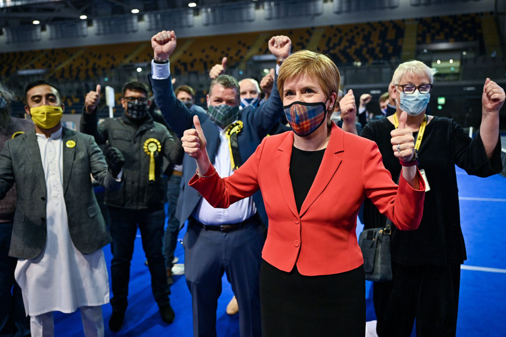 First Minister Nicola Sturgeon reacts after being declared the winner of the Glasgow Southside seat at Glasgow counting centre in the Emirates Arena on May 06, 2021 in Glasgow, Scotland.
