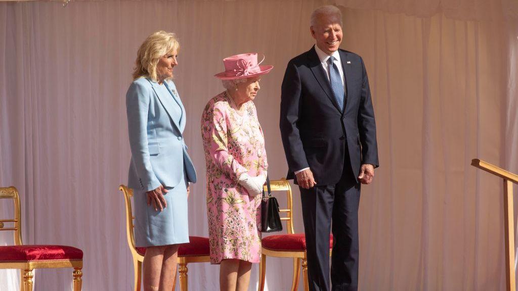Joe Biden has tea with the Queen.