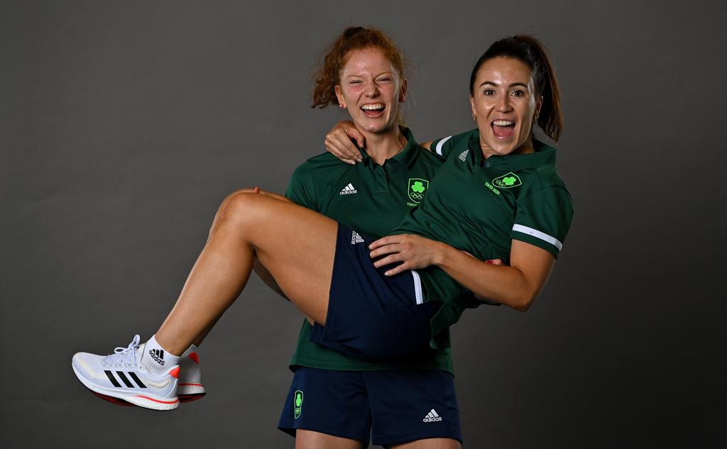 Sarah McAuley carries Anna O'Flanagan