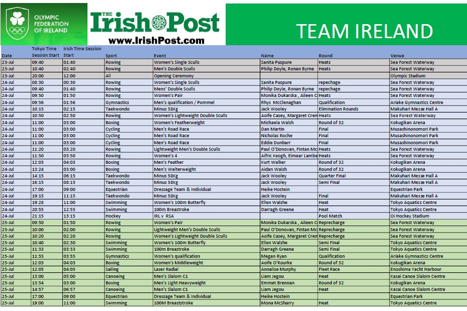 Irish Olympics _Timetable first day
